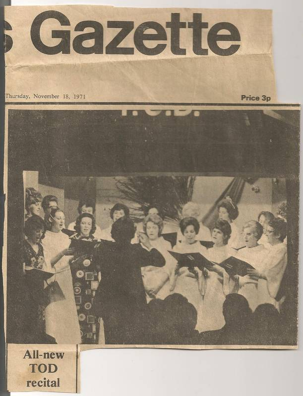 T.O.D.  Choir Concert in Hayes Community Centre 1971