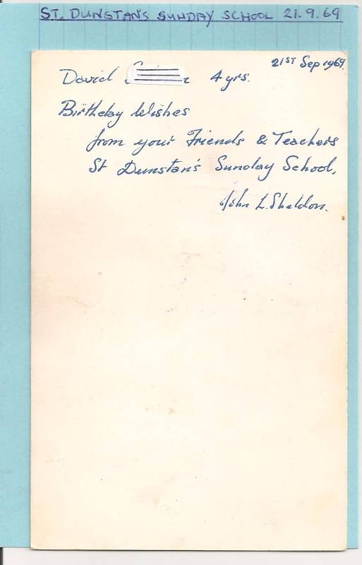 St Dunstans Sunday School card message