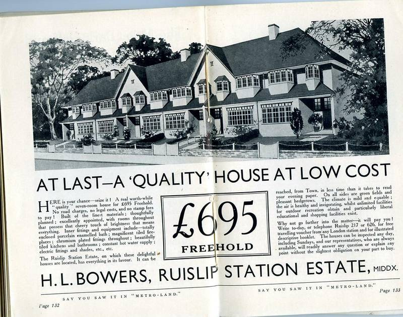 Ruislip houses for sale in 'Metro-Land' magazine advert