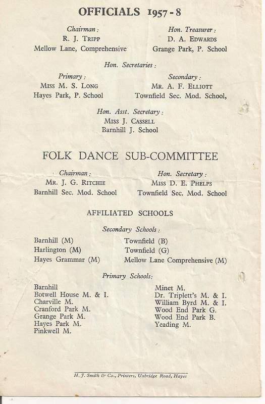 Back Cover of Secondary Schools Programme Queens Hall Concert