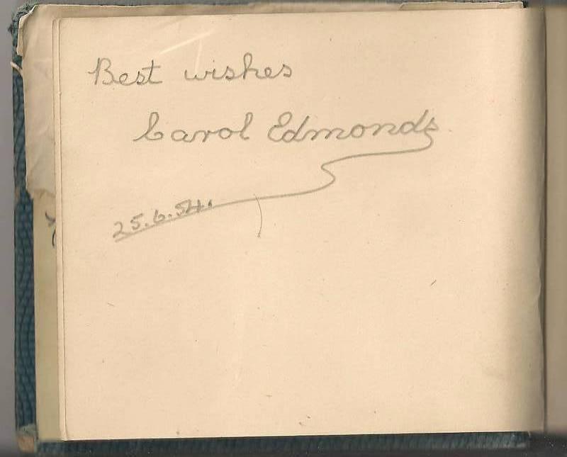 Carol Edmonds Name In My Autograph Book