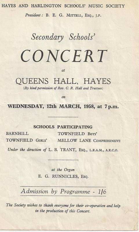 Programme of Secondary Schools Concert at the Queens Hall