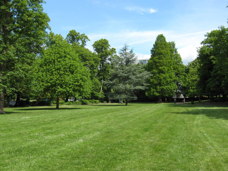 The north end of Fassnidge Park, Uxbridge, 50 years apart