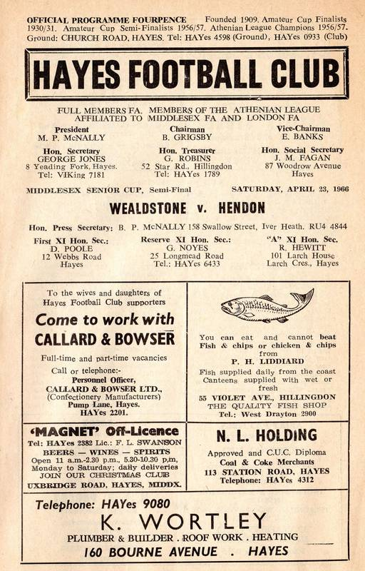 Hayes Football Club programme 1966 (1)