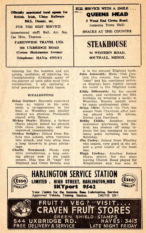 Hayes Football Club programme 1966 (3)