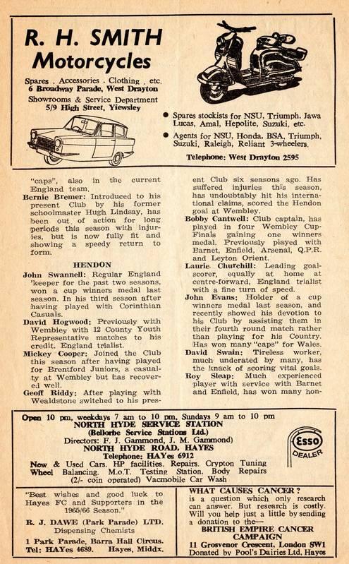 Hayes Football Club programme 1966 (6)