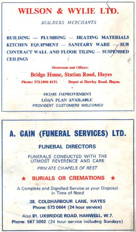 Back cover: Wilson & Wylie, A Cain Funerals