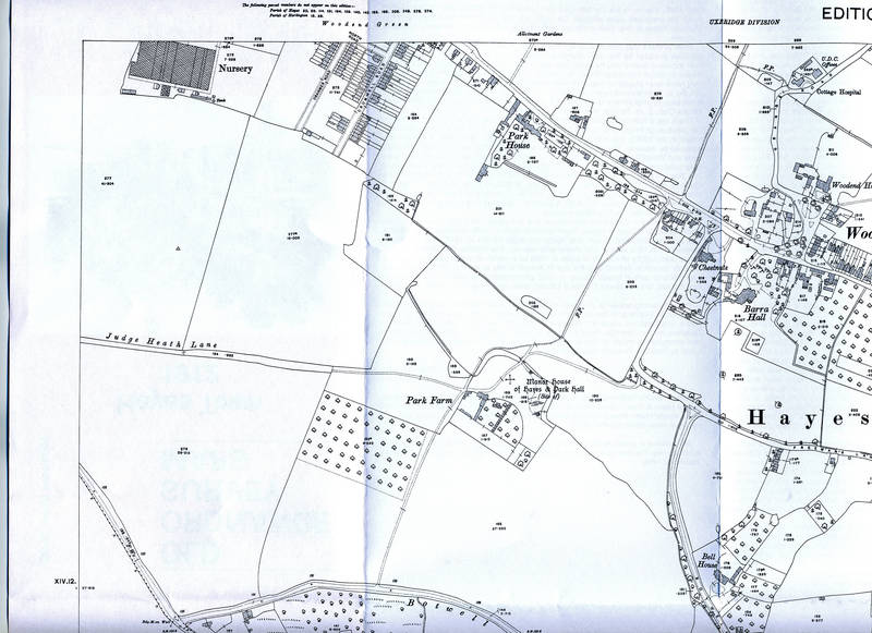 1914 Ordnance Survey Map of Hayes, North West Section