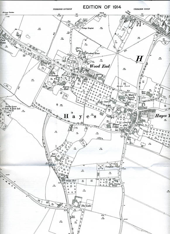 1914 Ordnance Survey Map of Hayes, Center North Section