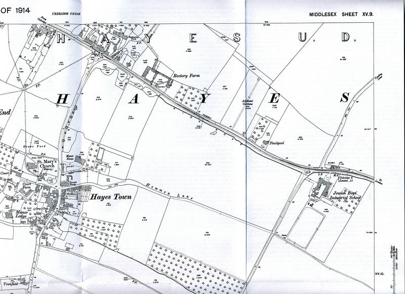 1914 Ordnance Survey Map of Hayes, North East Section