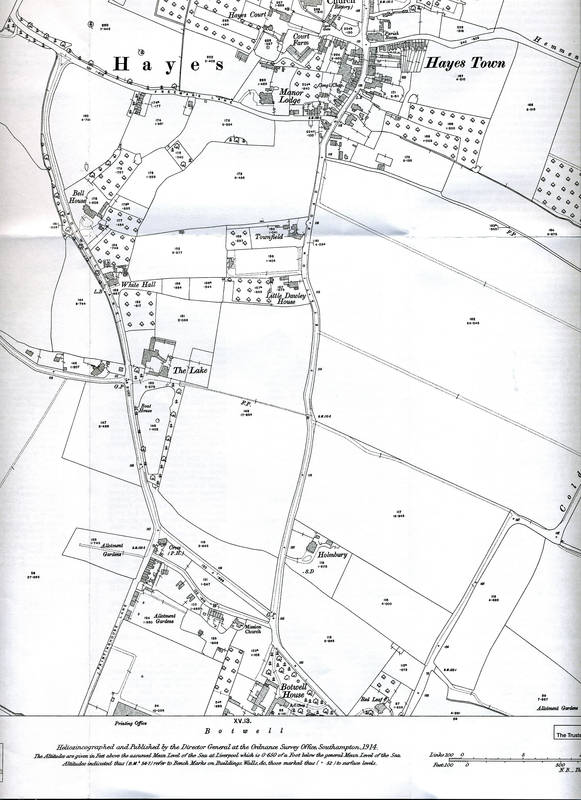 1914 Ordnance Survey Map of Hayes, Center South Section