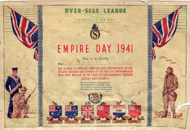 Empire Day certificate for Peggy Hayles