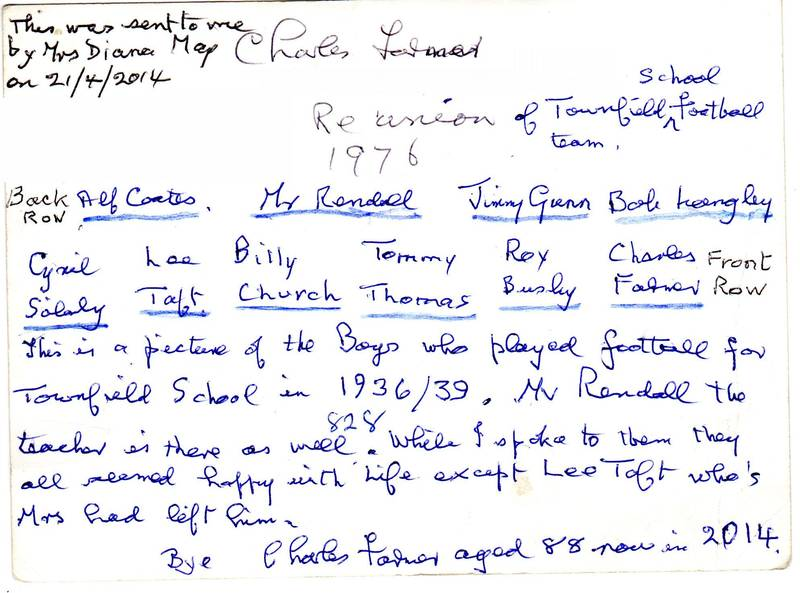 Townfield football team reunion in 1976 - info on rear of photo